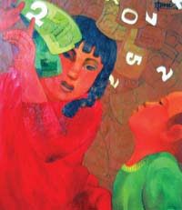 Painter shares exhibition with 10-year-old daughter