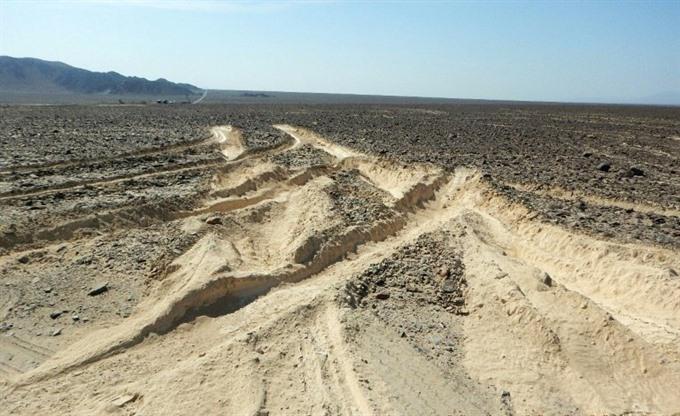 Truck damages Perus ancient Nazca lines