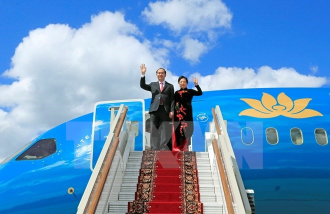 President Trần Đại Quang touches down in Moscow