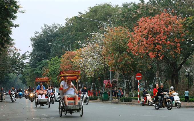 Đinh Tiên Hoàng Street around Hà Nộis Hoàn Kiếm (Returned Sword) Lake is blanketed in beautiful colours as the trees change season. Spring brings many transformations but none are more spectacular than the leaves turning from green to auburn red and yellow. — VNS Photo Trương Vị