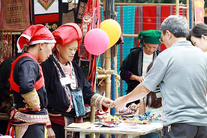 Ethnic people showcase handicraft products