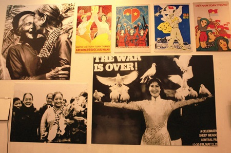 Past protests: Photographs of women's revolutionary movements are displayed at the exhibition.