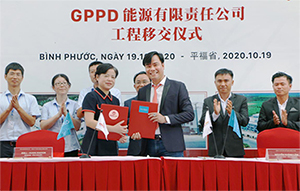 Signing ceremony of handing over and putting into operation the US30 million GPPD energy battery factory in Binh Phuoc