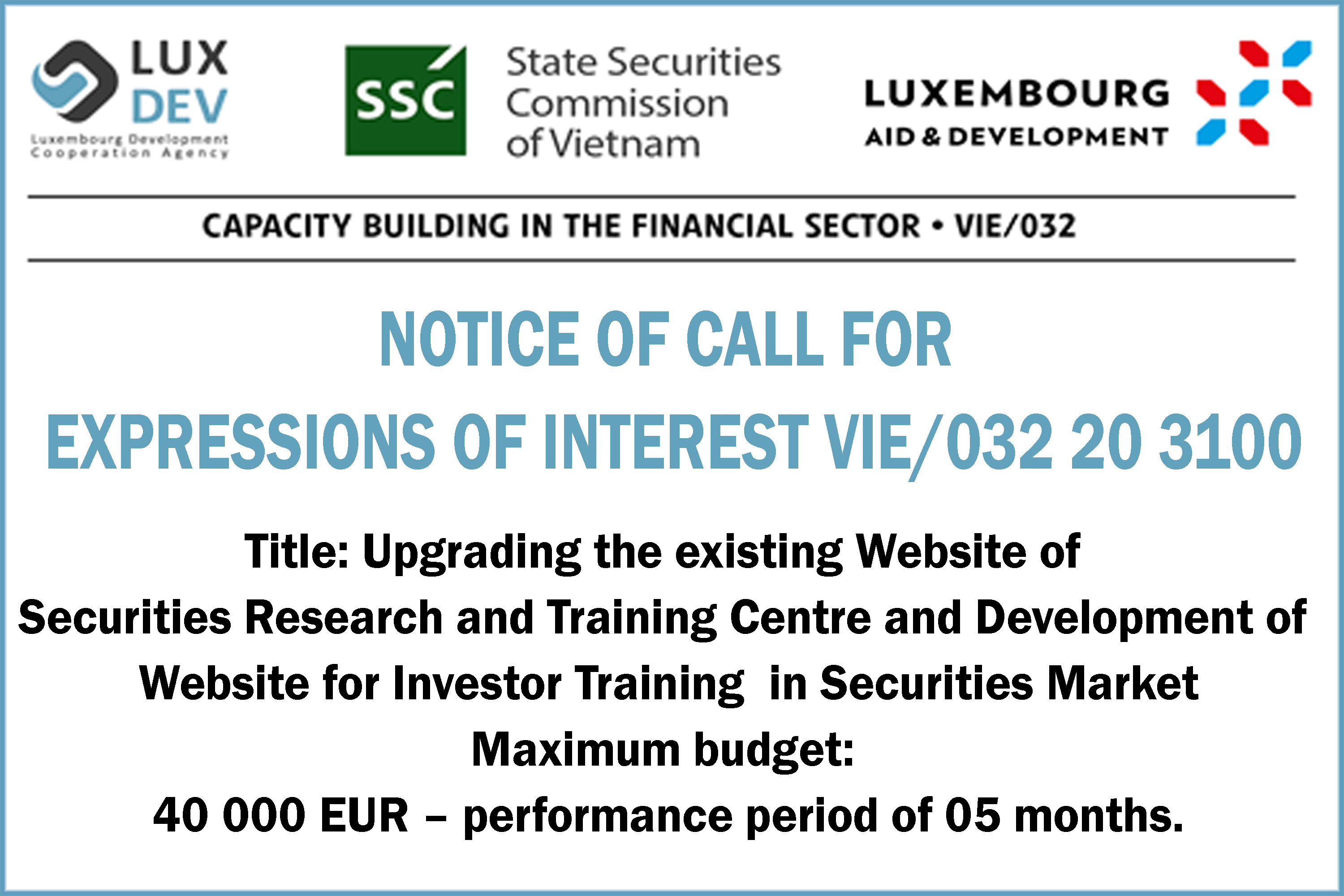 LuxDev - Call for expressions of interest Vie/032 20 3100