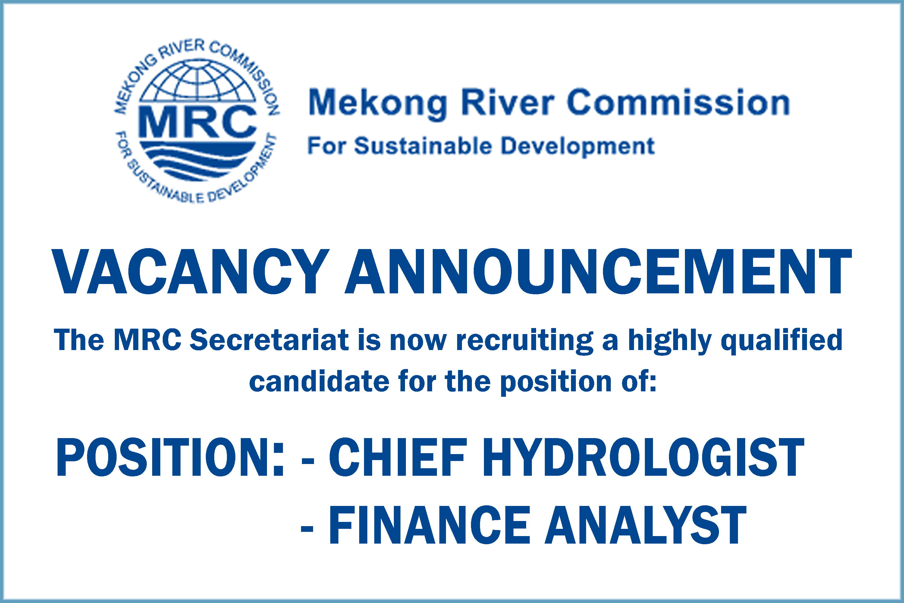 VACANCY ANNOUNCEMENT