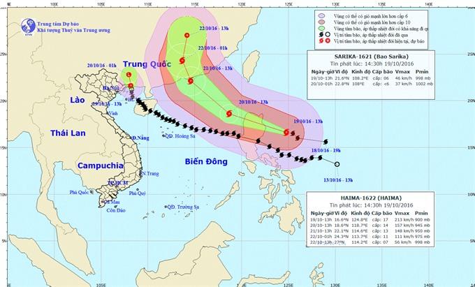Storm Sarika weakens into low tropical pressure