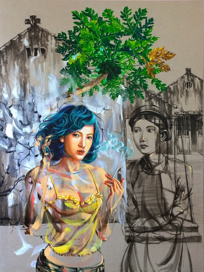 Hà Nội artist contrasts modern and traditional women in new exhibit