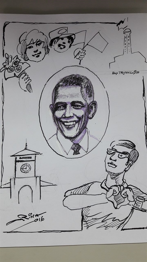 Obama draws crowds to pagoda bun cha joint