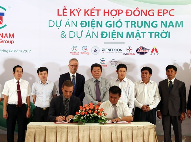 Firms ink contracts for wind solar power