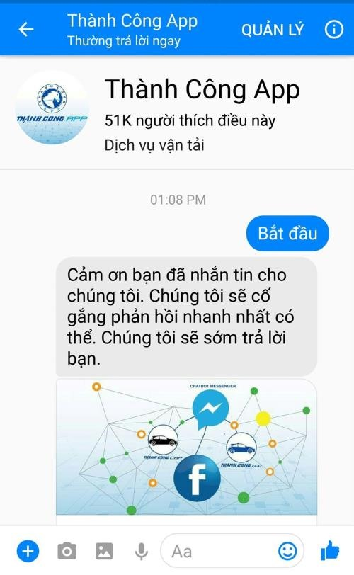Thành Công Taxi to offer services via Facebook Messenger