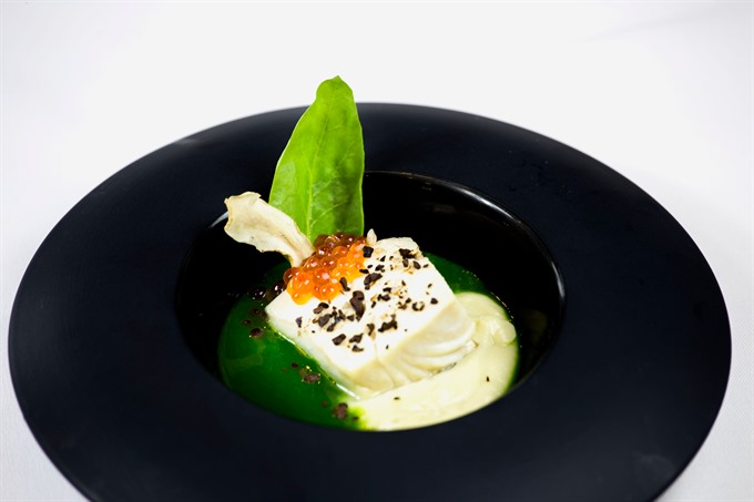 Steamed Codfish with Salmon Caviar