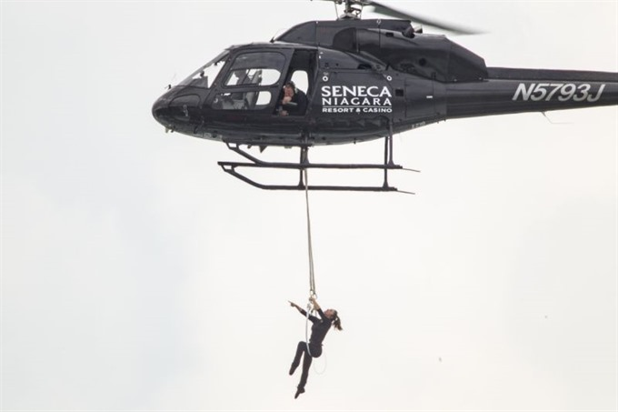 Wonder Woman Daredevil Wallenda hangs by teeth over Niagara Falls