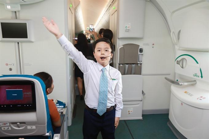 Flying with kid flight attendants