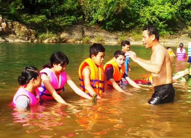 River swimming class a source of fun survival