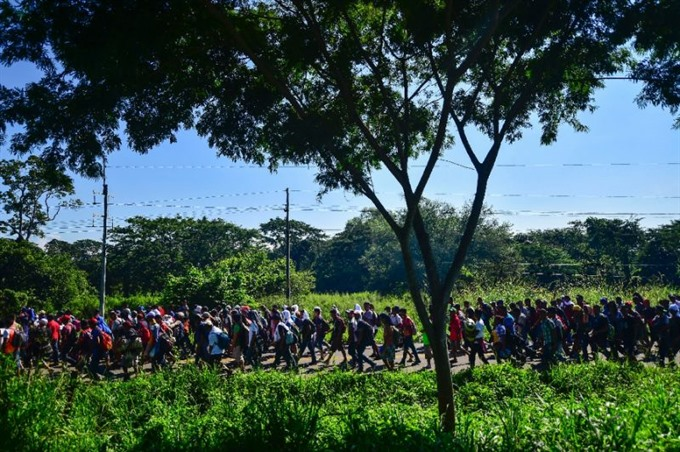 Honduran migrants march as Trump vows full efforts to halt them