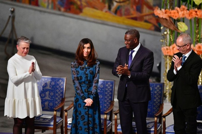 2018 Nobel peace prize laureates urge world to help victims of rape in conflict