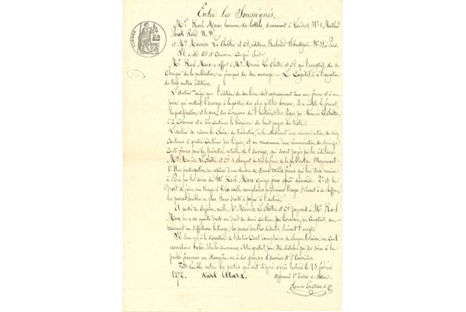 Karl Marx 'Capital contract makes a mint at Paris auction