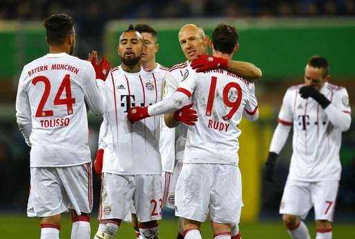 Robben nets twice as Bayern power into Cup semis