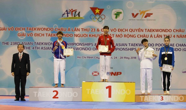 Tuyền wins gold medal at Asian Taekwondo Champs