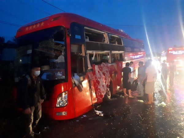 Dozens injured in bus collision