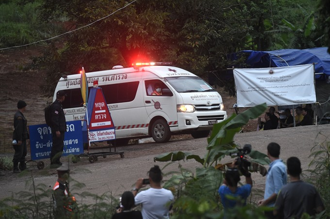 Four boys rescued from flooded Thai cave: official