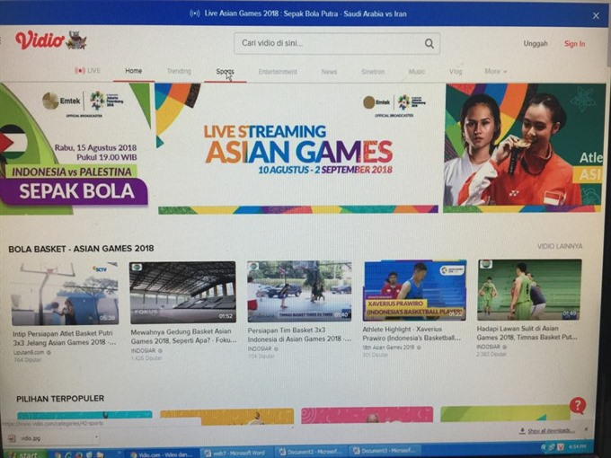 Host Indonesia offers free channel for fans to watch Asiad 2018