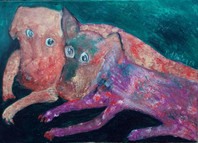 Artist reflects human society through paintings of dogs