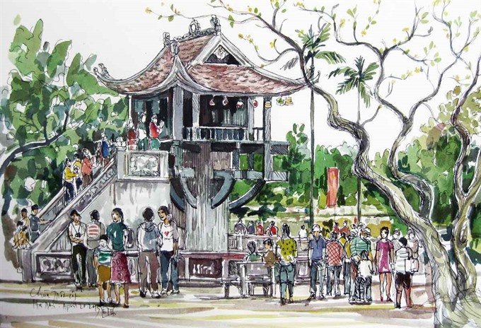 Overseas Vietnamese artist nurtures love for Hà Nội through sketches