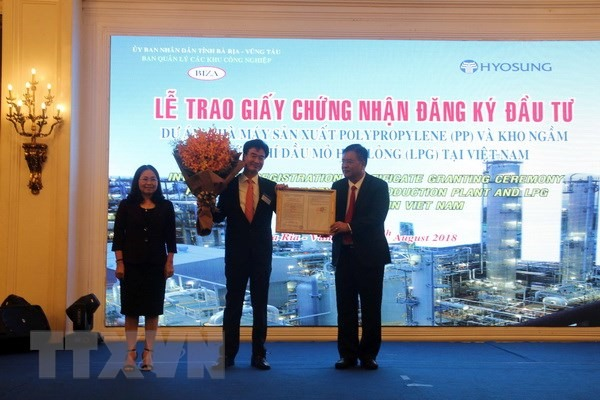 Bà Rịa-Vũng Tàu grants investment certificate for 1.2b chemical project