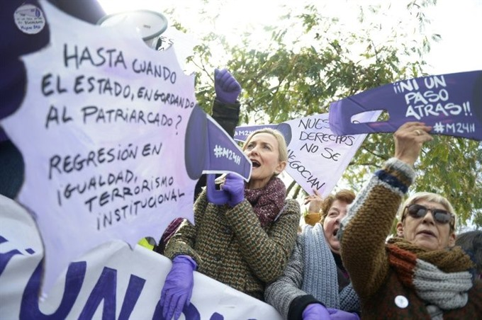 Spanish feminists rally against far-right 'sexist party