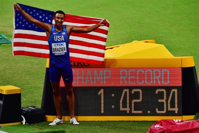 Brazier brushes off doping controversy to win 800m gold at world championships