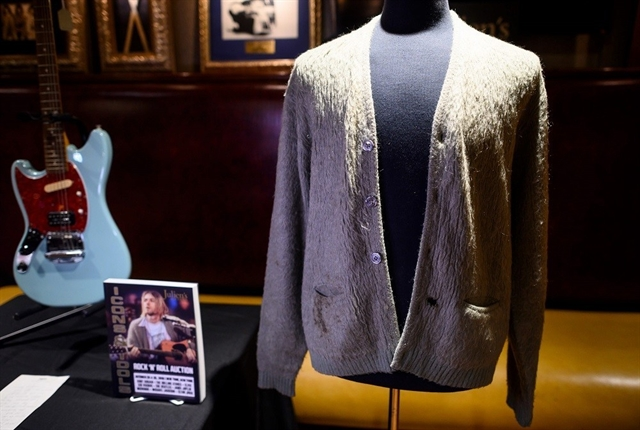 Cigarette-burned Kurt Cobain Unplugged cardigan heading to auction