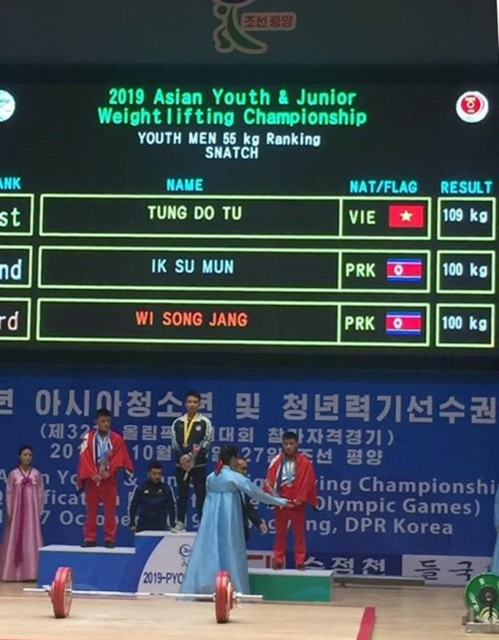 Lifter Tùng wins four golds at Asian youth champs