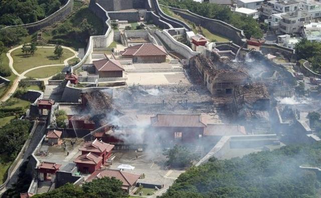 Fire engulfs World Heritage castle in Japans Okinawa