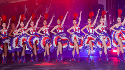 Moulin Rouge cancan dancers celebrate French cabarets 130th birthday
