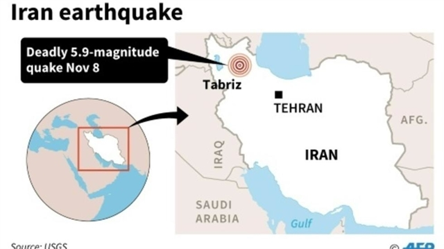 Three killed 20 injured in Iran earthquake: state television