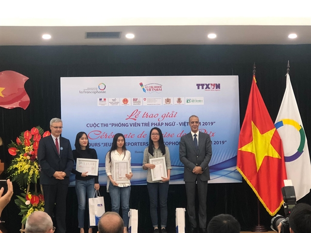 Students given prizes for French reporting