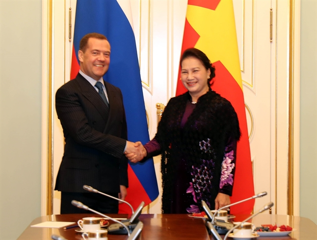 Vietnamese NA leader Russian PM discuss multifaceted relations