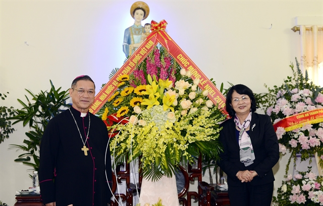 Vice President delivers Christmas greetings to Bùi Chu Diocese