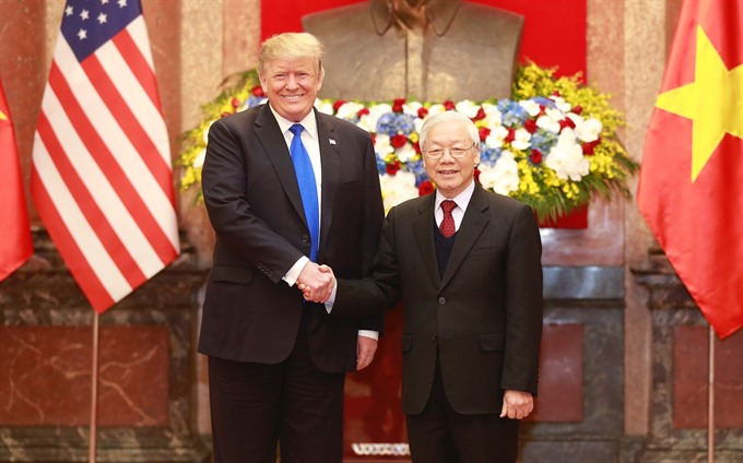 Party leader President Trọng meets with President Donald Trump