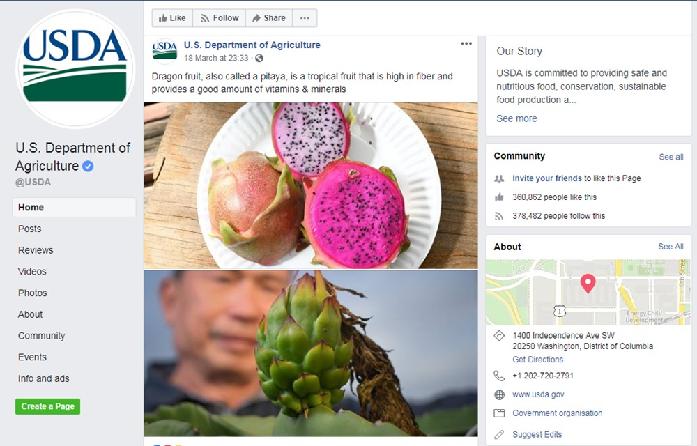USDA post about benefits of dragon fruit a crucial export of Việt Nam