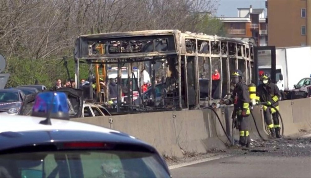 Italy driver hijacks torches school bus