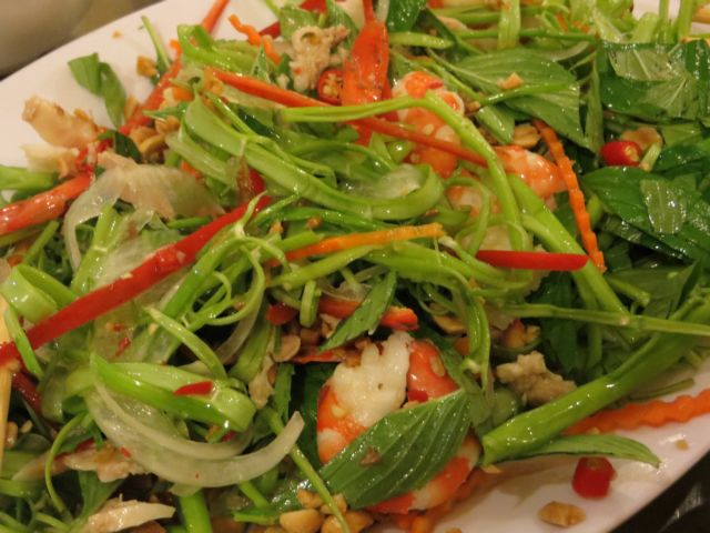 Stir fried morning glory with garlic—a speciality of Việt Nam