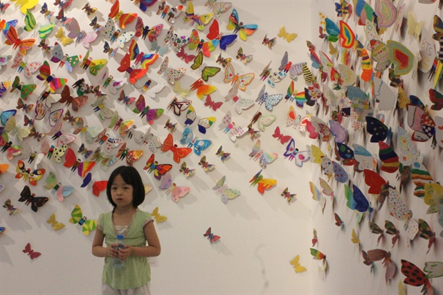 Exhibition displays butterflies made by disabled children