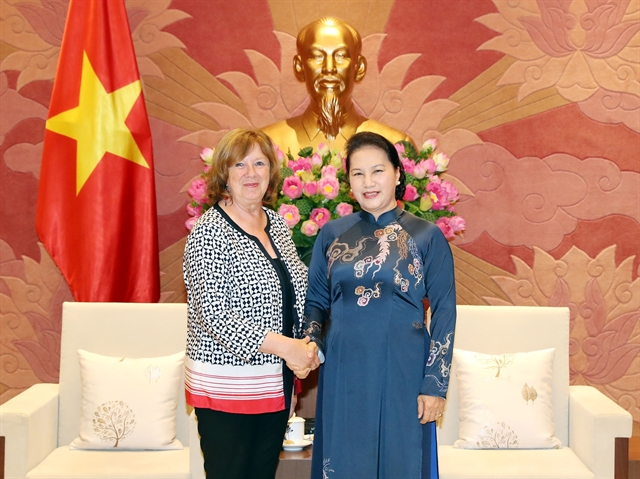 NA Chairwoman Ngân greets French senator