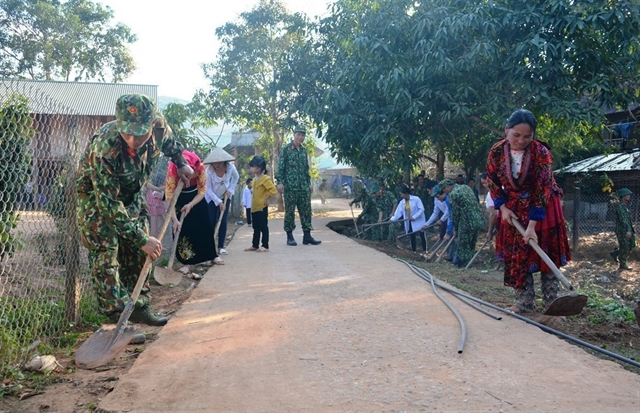 Soldiers give a new look to poor village