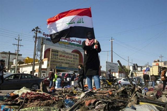 Three rockets hit US embassy in protest-hit Iraqi capital