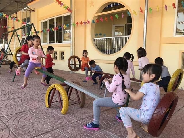 Children enjoy toys made of old tyres in Hải Dương