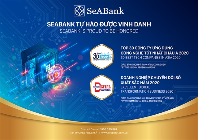 SeABank honoured to receive the Vietnam Digital Transformation Award among Top 30 Best Tech Companies in Asia 2020