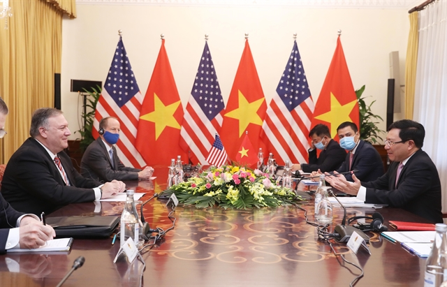 Vietnamese and US foreign ministers hold talks in Hà Nội on Friday. — VNA/VNS Photo Bùi Lâm Khánh
